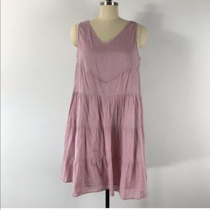 Garnet Hill Mauve Sleeveless Cotton Trapeze Dress
